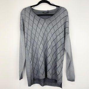 Charlie B NWT Sz L sweater grey diamond pattern li